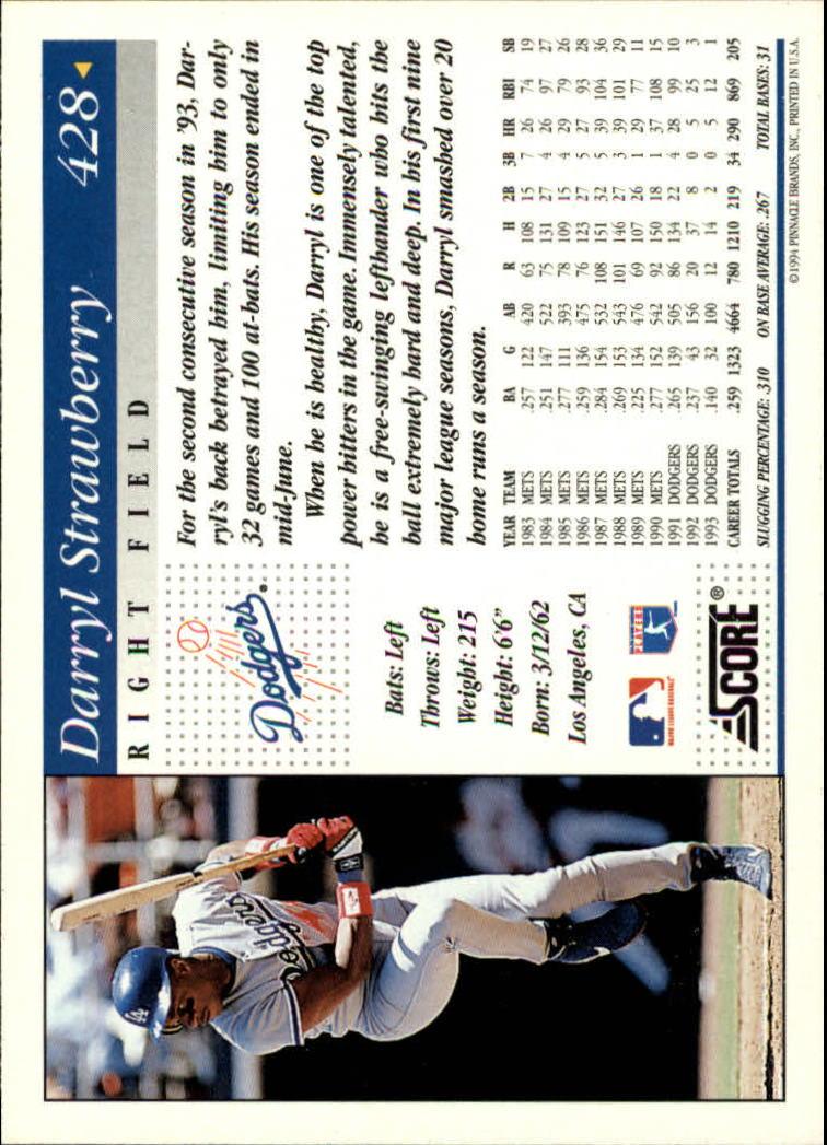 1994 Score #428 Darryl Strawberry back image
