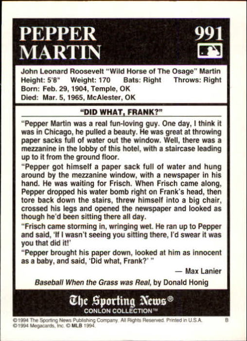 1994 Conlon TSN #991 Pepper Martin back image