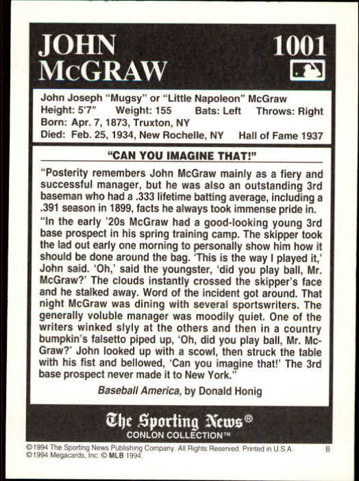 1994 Conlon TSN #1001 John McGraw back image