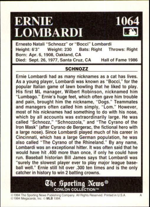 1994 Conlon TSN #1064 Ernie Lombardi back image