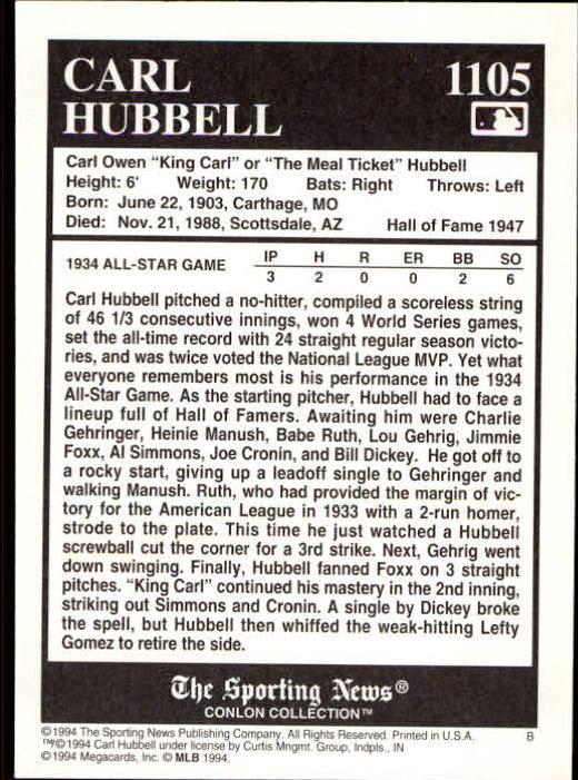 1994 Conlon TSN #1105 Carl Hubbell back image