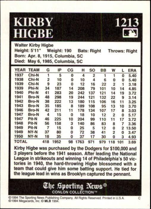 1994 Conlon TSN #1213 Kirby Higbe back image