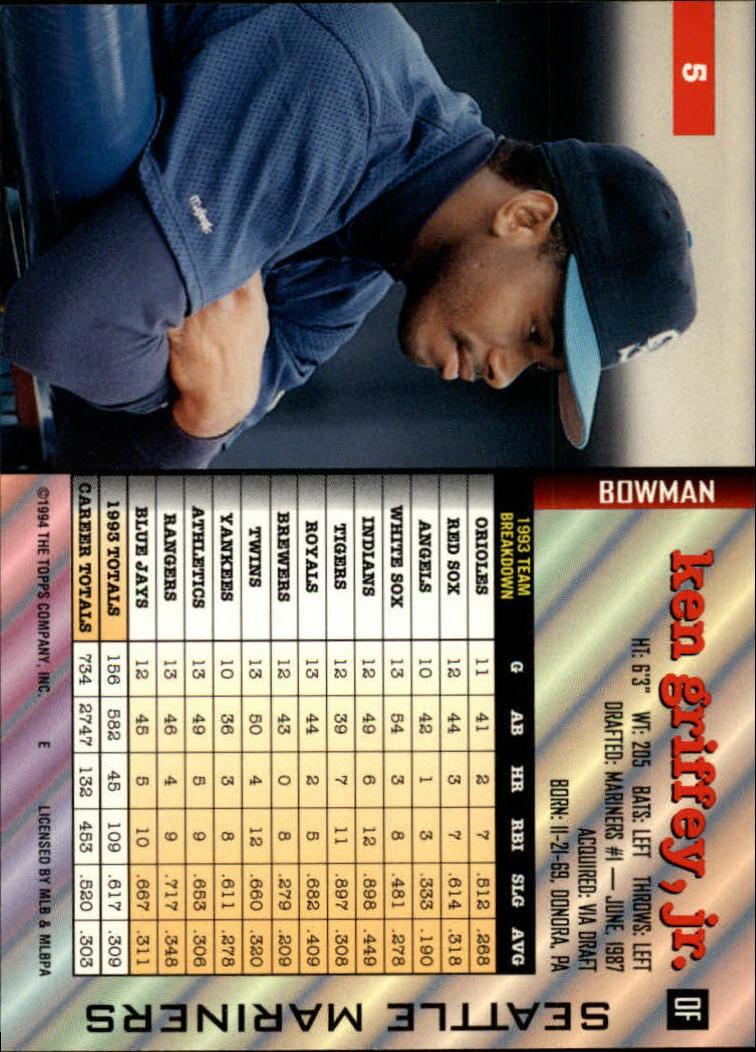 1994 Bowman #5 Ken Griffey Jr. back image