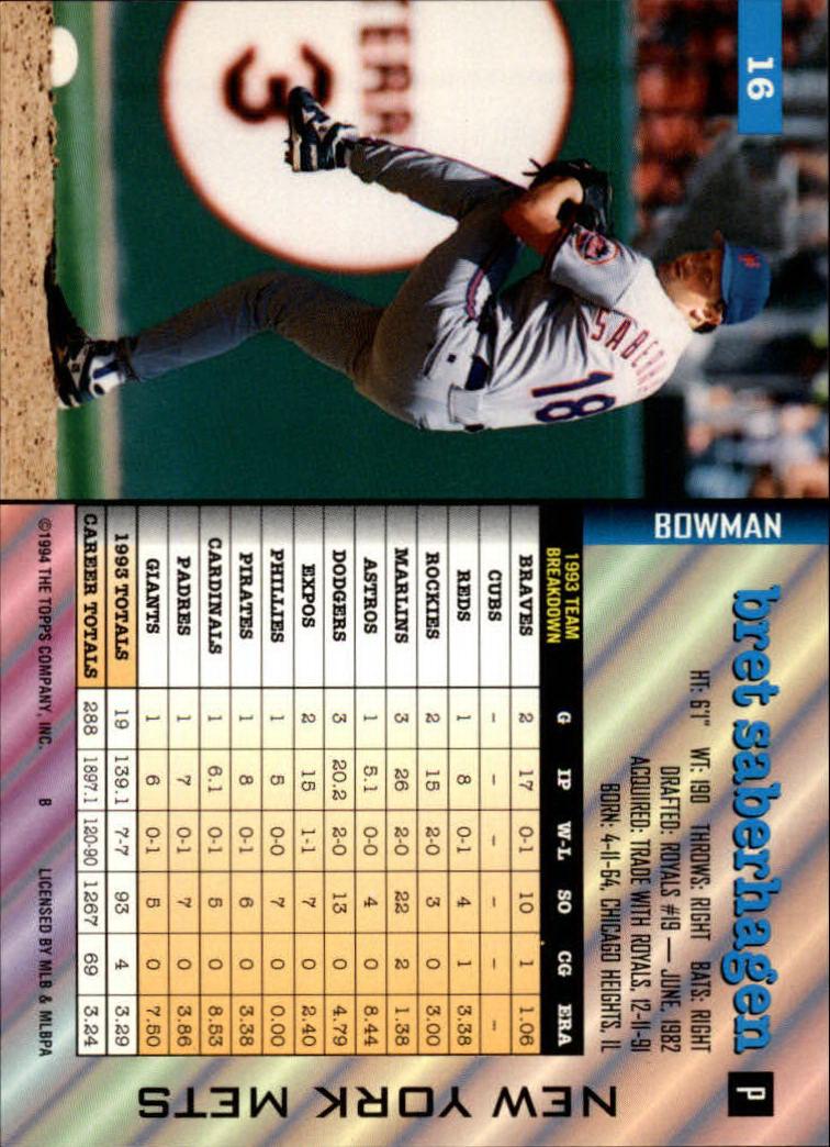 1994 Bowman #16 Bret Saberhagen back image