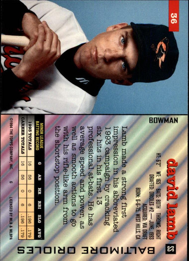 1994 Bowman #36 David Lamb RC back image