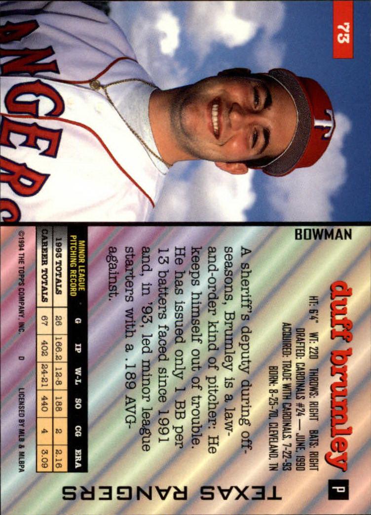 1994 Bowman #73 Duff Brumley RC back image