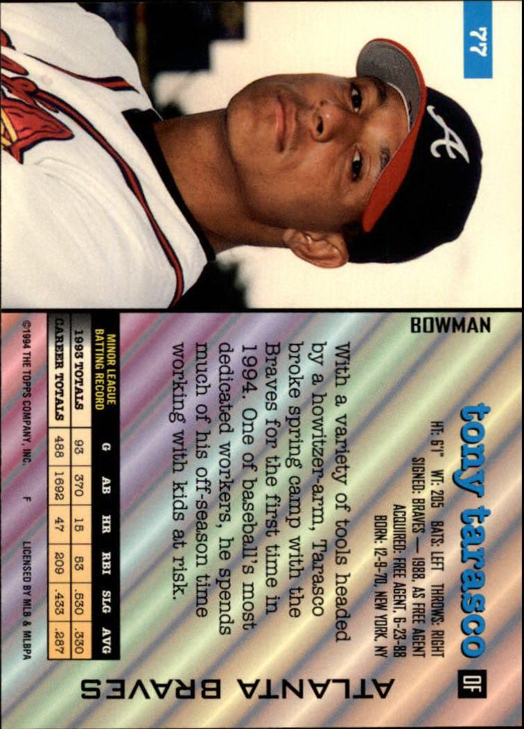 1994 Bowman #77 Tony Tarasco back image