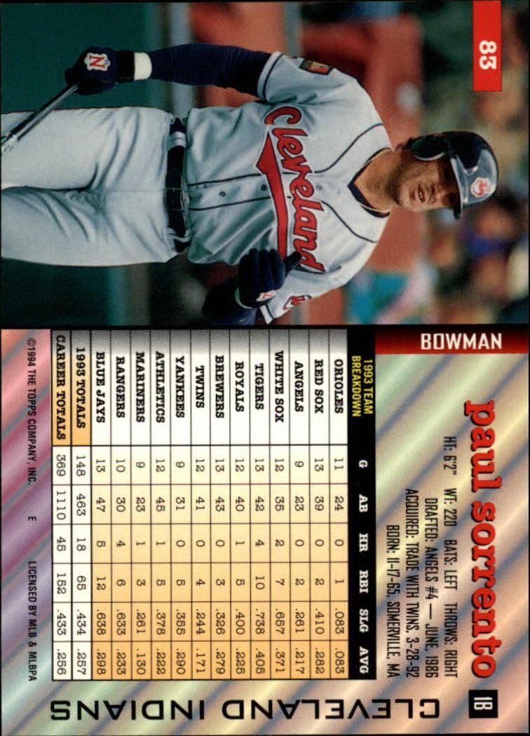 1994 Bowman #83 Paul Sorrento back image