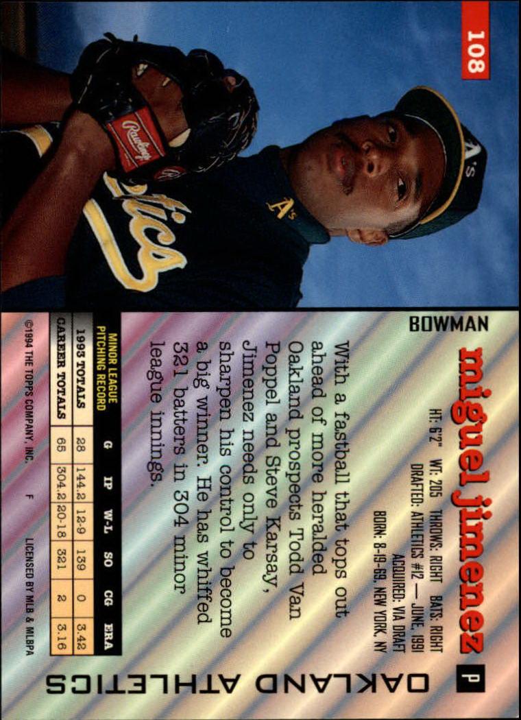 1994 Bowman #108 Miguel Jimenez back image