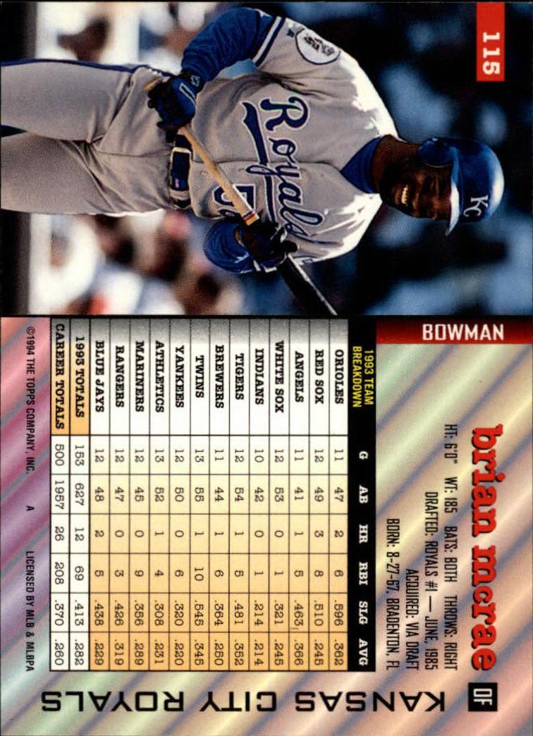 1994 Bowman #115 Brian McRae back image