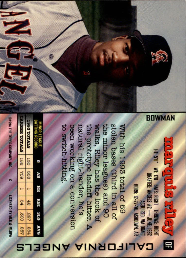 1994 Bowman #263 Marquis Riley UER/No card number on back back image