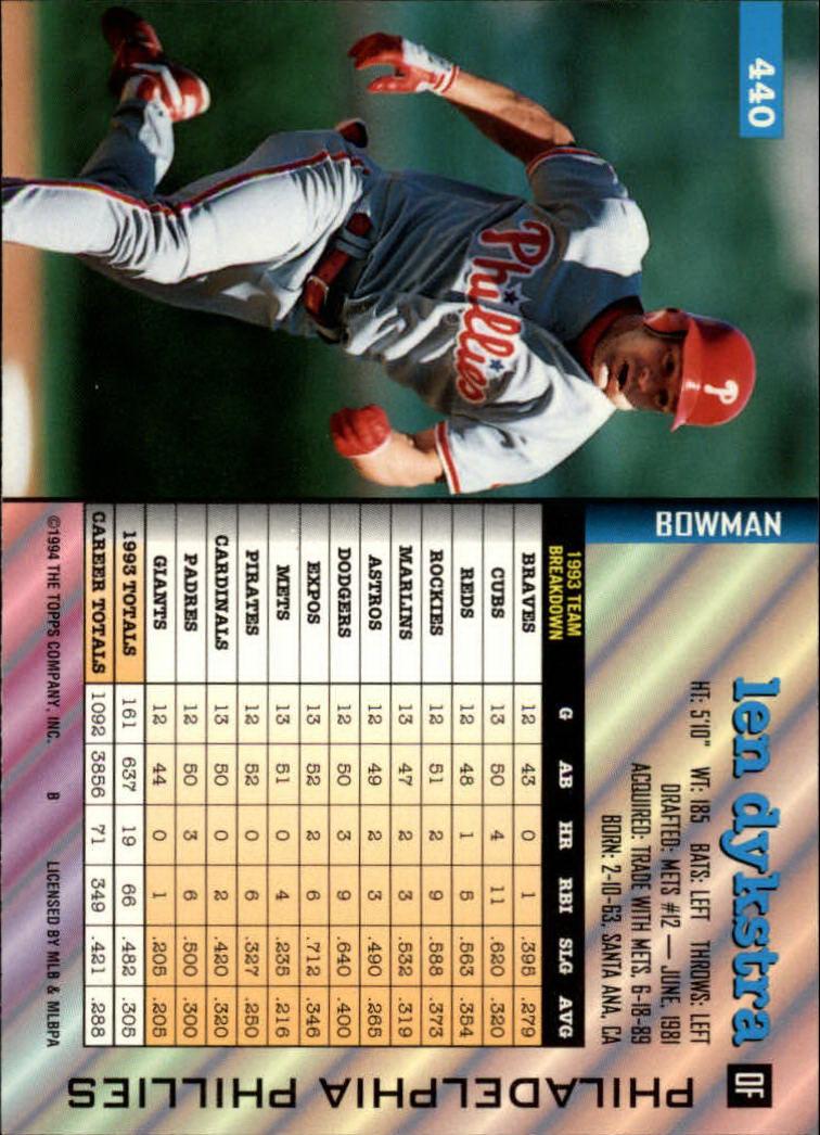 1994 Bowman #440 Len Dykstra back image