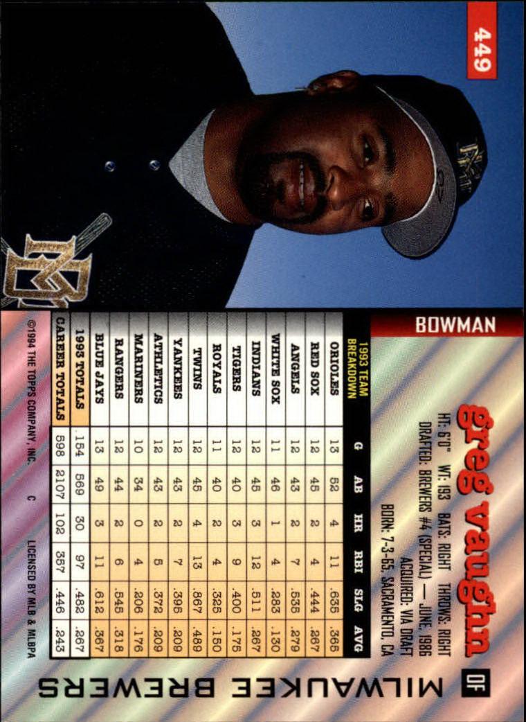 1994 Bowman #449 Greg Vaughn back image