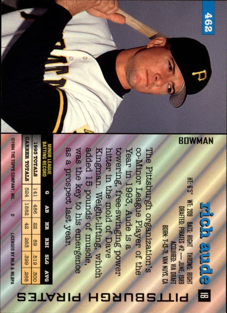 1994 Bowman #462 Rich Aude RC back image