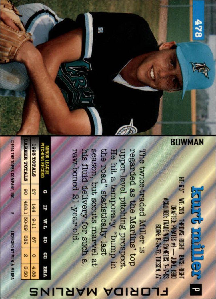 1994 Bowman #478 Kurt Miller back image