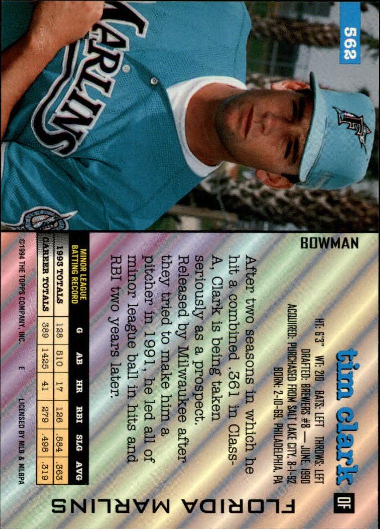 1994 Bowman #562 Tim Clark back image