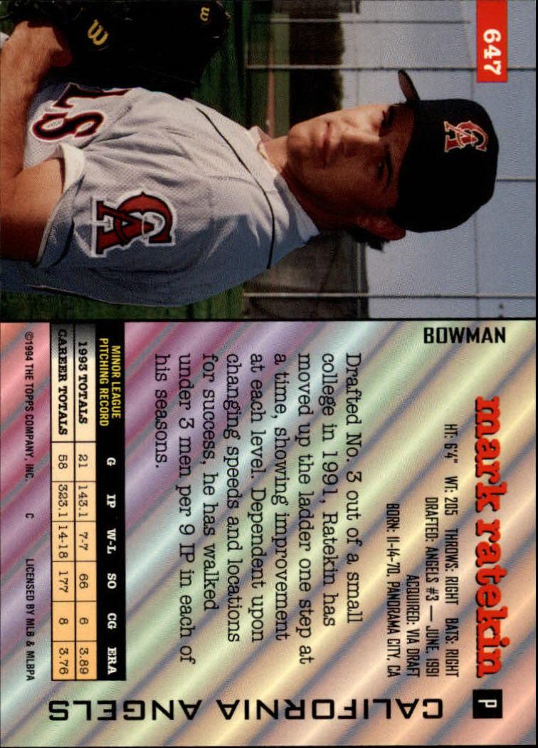 1994 Bowman #647 Mark Ratekin back image