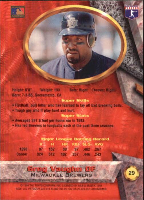 1994 Bowman's Best #R29 Greg Vaughn back image