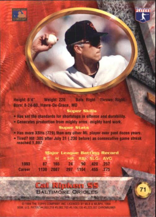 1994 Bowman's Best #R71 Cal Ripken back image