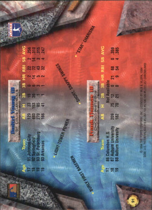 1994 Bowman's Best #X91 F.Thomas/D.Young back image