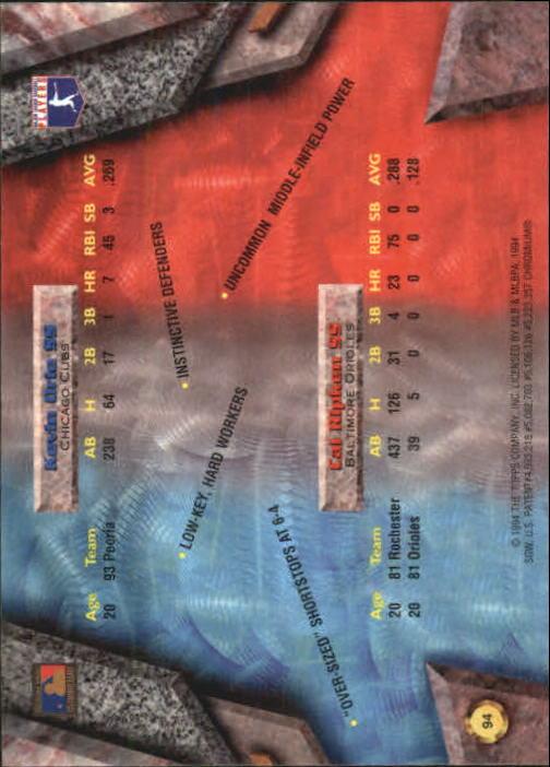 1994 Bowman's Best #X94 C.Ripken/K.Orie back image