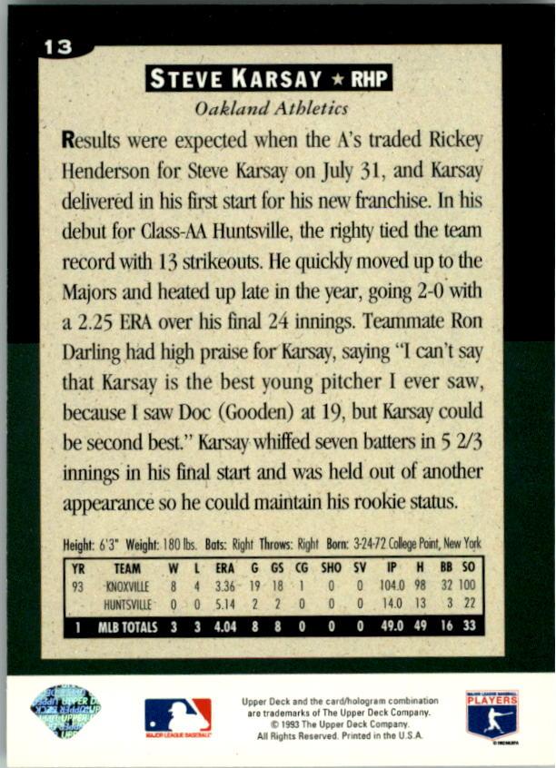 1994 Collector's Choice #13 Steve Karsay back image
