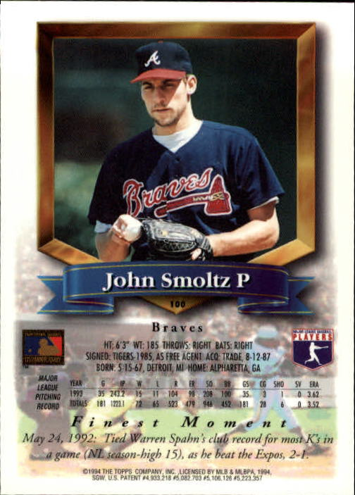 1994 Finest #100 John Smoltz back image