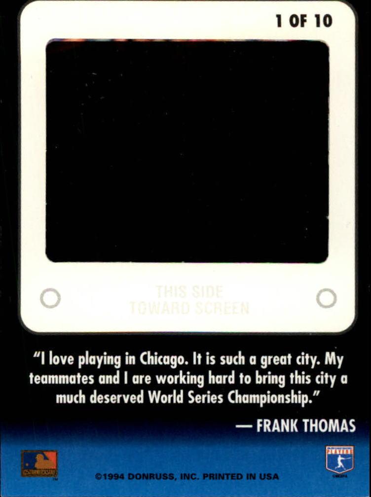 1994 Leaf Slideshow #1 Frank Thomas back image