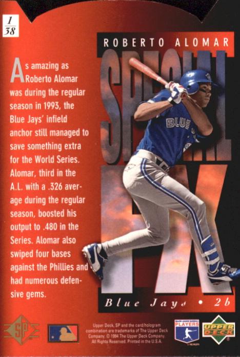 1994 SP Holoviews Die Cuts #1 Roberto Alomar back image