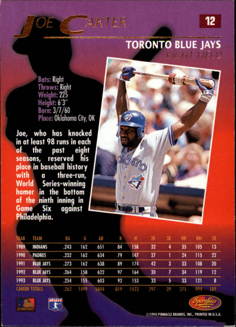 1994 Sportflics #12 Joe Carter - NM-MT