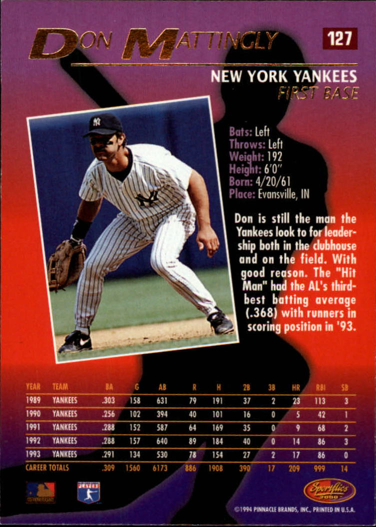 1994 Sportflics #127 Don Mattingly back image