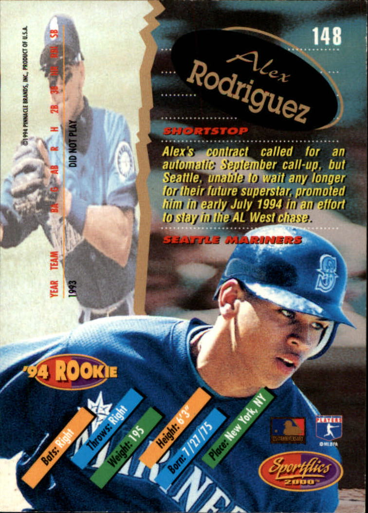 1994 Sportflics Rookie/Traded #148 Alex Rodriguez RC back image
