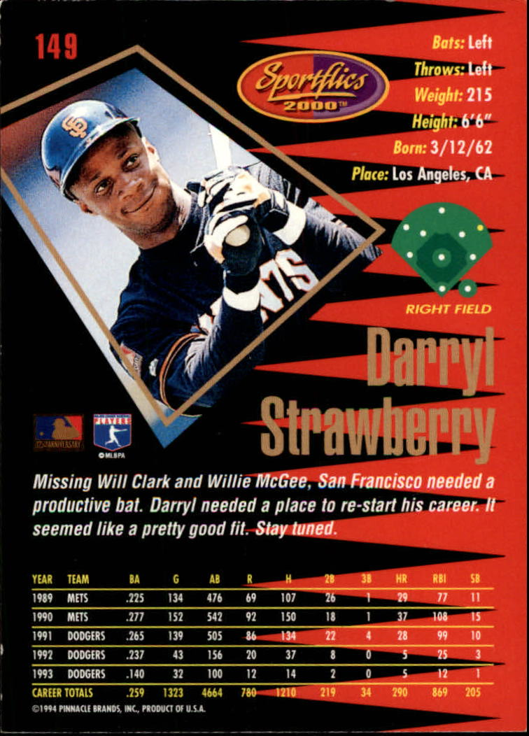 1994 Sportflics Rookie/Traded #149 Darryl Strawberry back image
