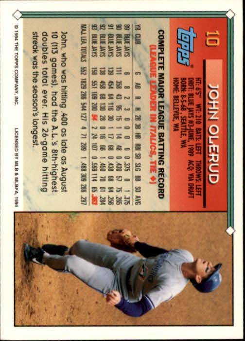 1994 Topps #10 John Olerud back image