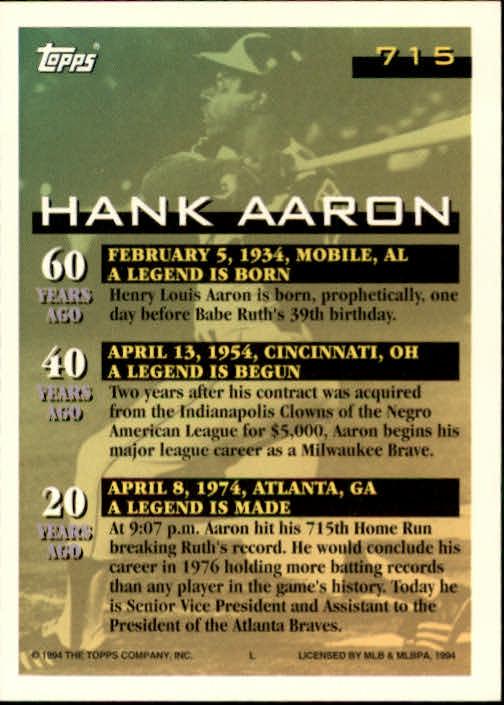 1994 Topps #715 Hank Aaron 715 HR back image