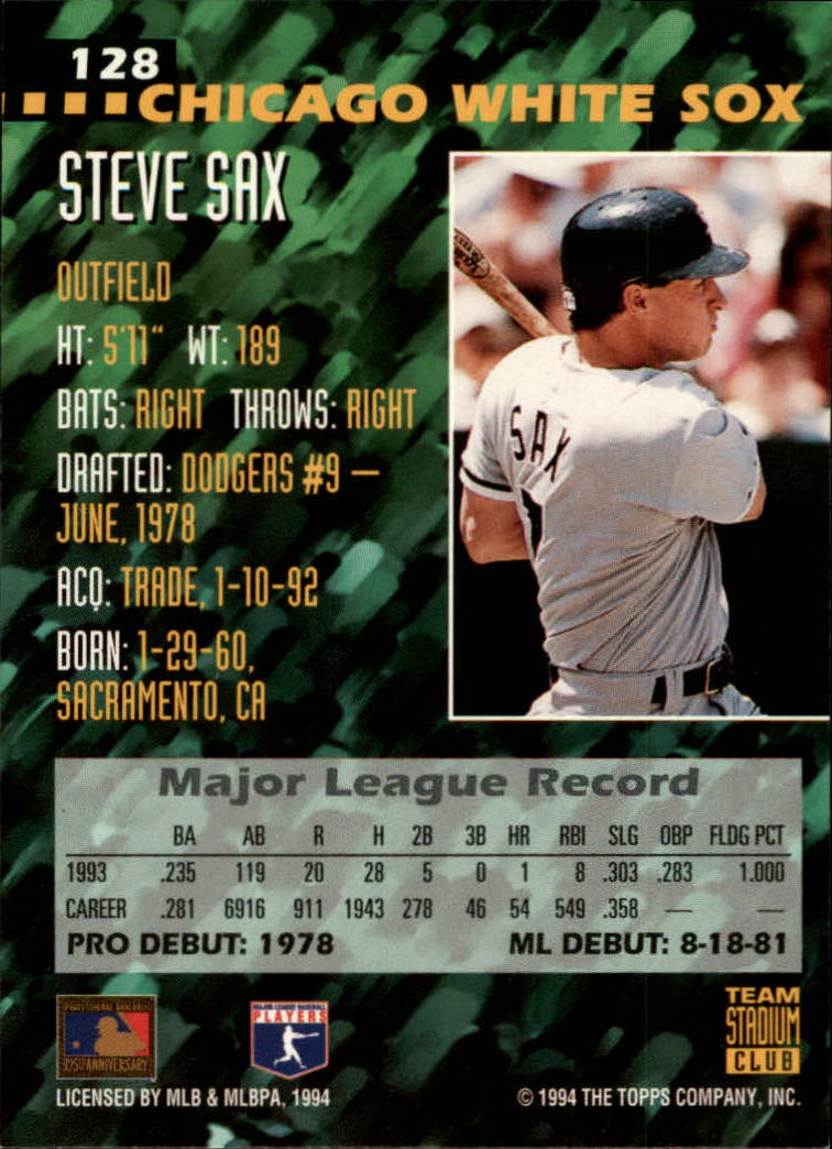 1994 Stadium Club Team #128 Steve Sax back image