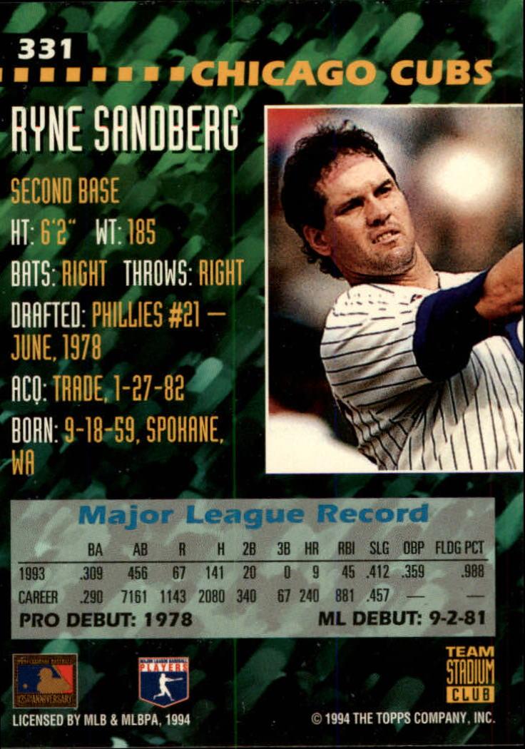 1994 Stadium Club Team #331 Ryne Sandberg back image