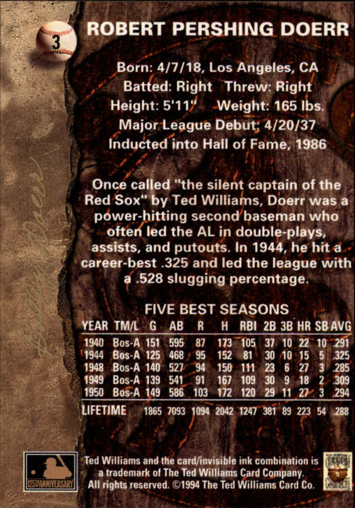 1994 Ted Williams #3 Bobby Doerr back image