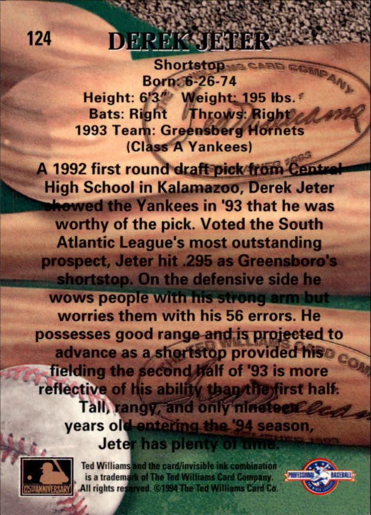1994 Ted Williams #124 Derek Jeter back image