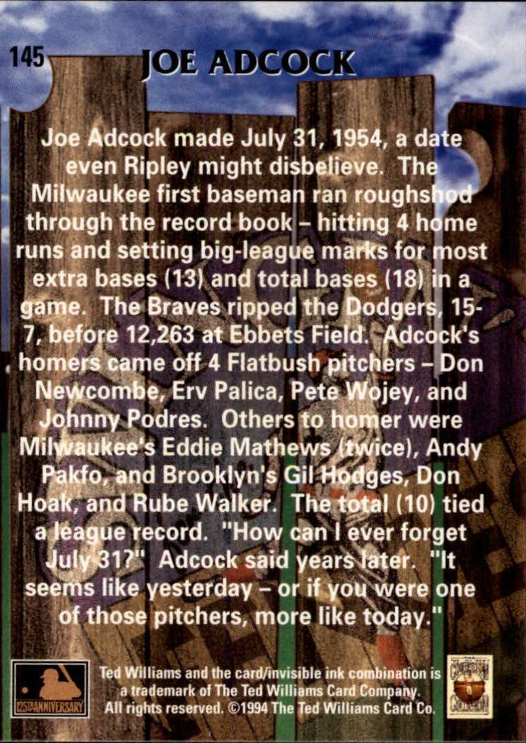 1994 Ted Williams #145 Joe Adcock back image