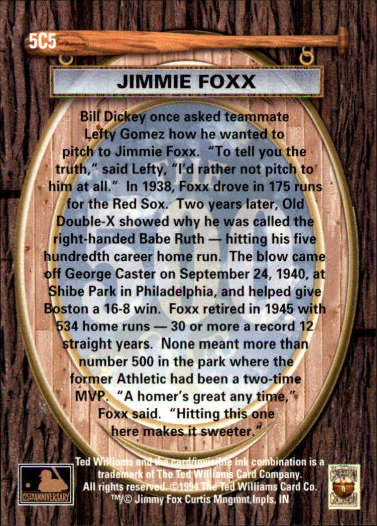 1994 Ted Williams 500 Club #5 Jimmie Foxx back image