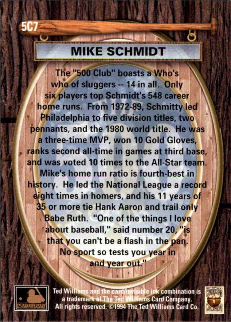 1994 Ted Williams 500 Club #7 Mike Schmidt back image