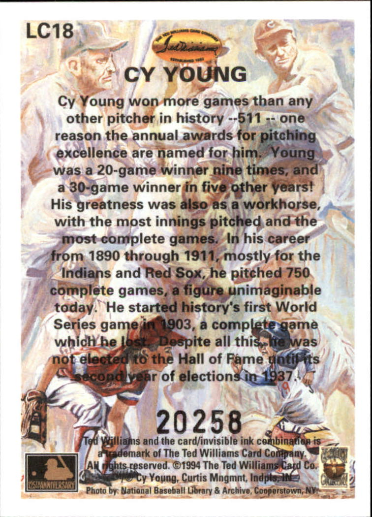 1994 Ted Williams Locklear Collection #LC18 Cy Young back image
