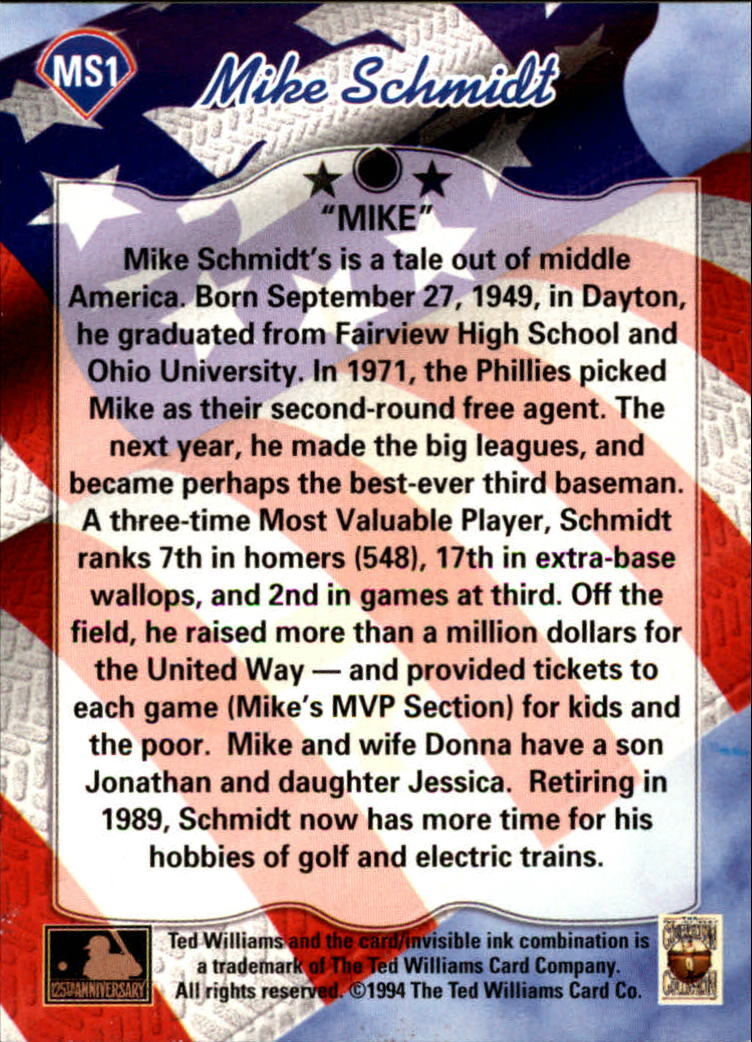 1994 Ted Williams Mike Schmidt #MS1 Mike Schmidt/Mike back image