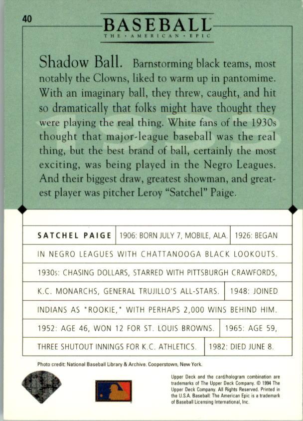 1994 Upper Deck: The American Epic #40 Satchel Paige back image