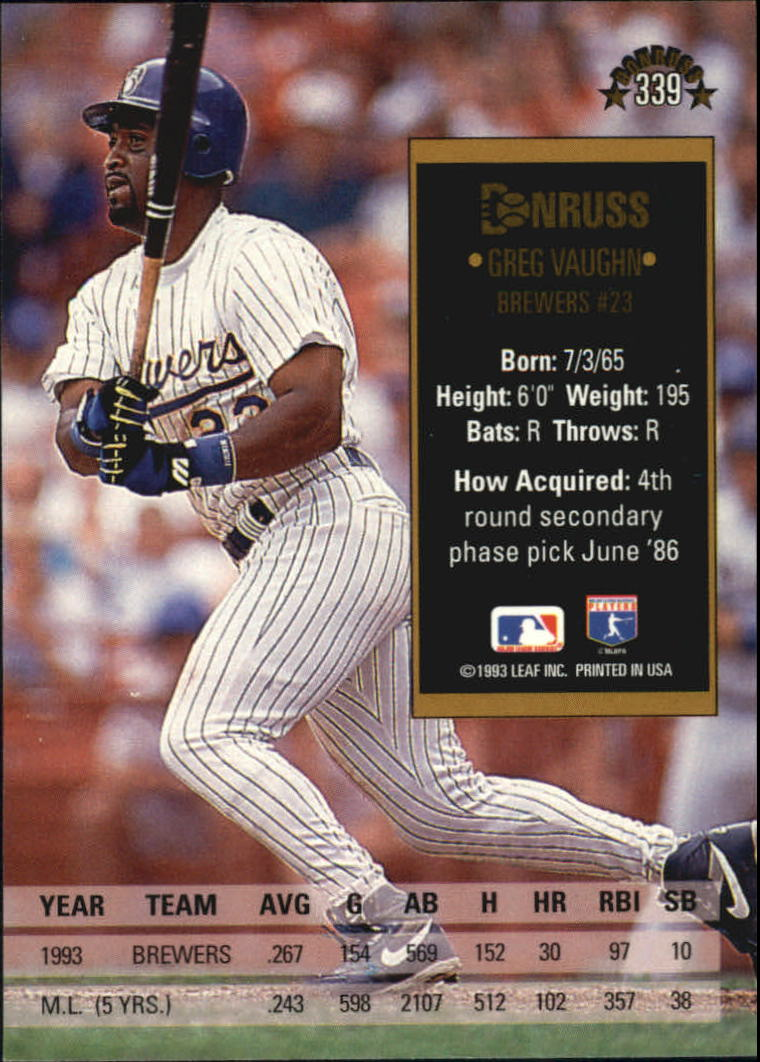 1994 Donruss #339 Greg Vaughn back image