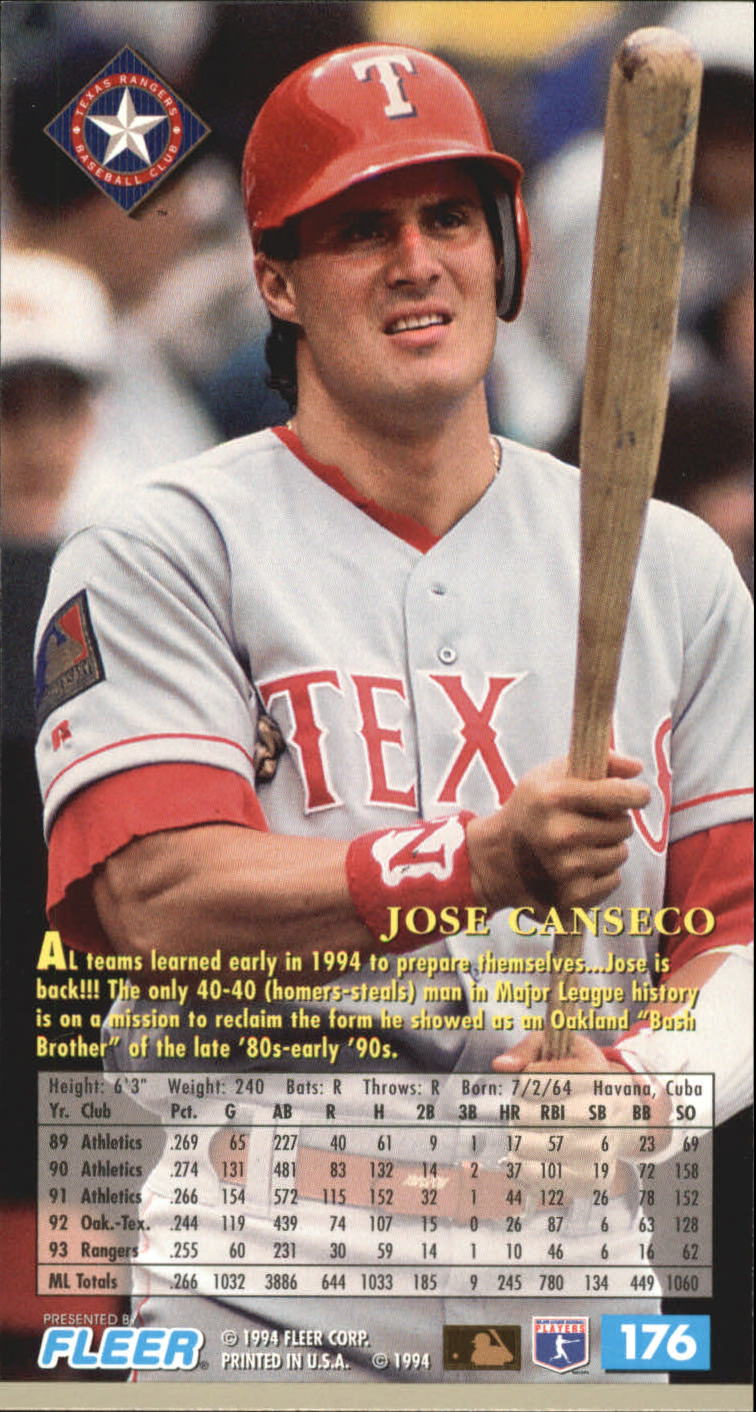 1994 Fleer Extra Bases #176 Jose Canseco back image