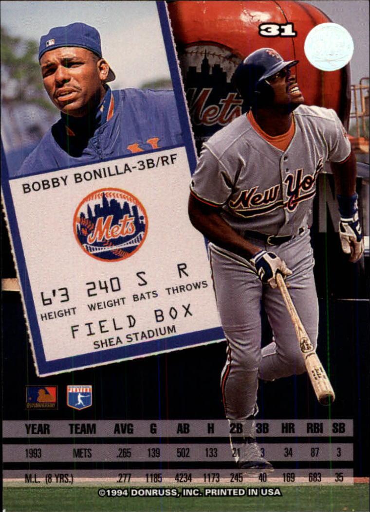 1994 Leaf #31 Bobby Bonilla back image