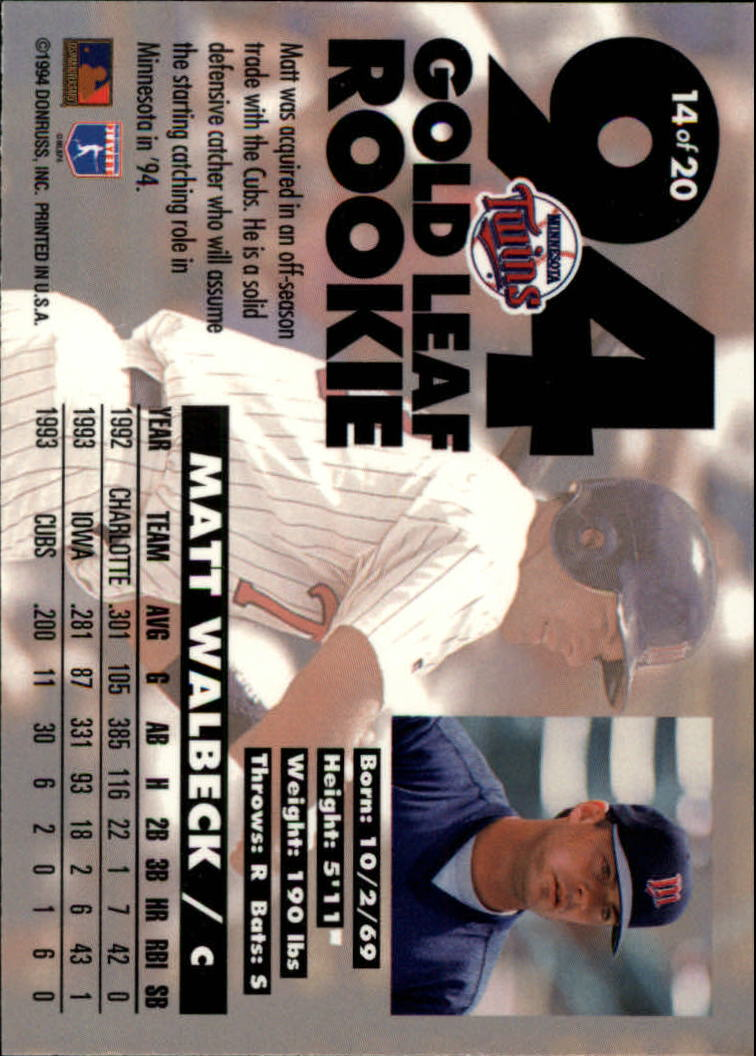 1994-Leaf-Gold-Rookies-Baseball-1-20-Your-Choice-GOTBASEBALLCARDS thumbnail 29