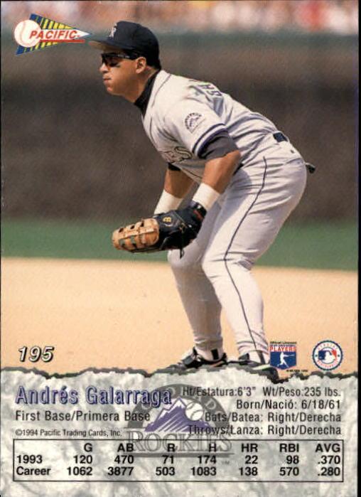 1994 Pacific #195 Andres Galarraga back image